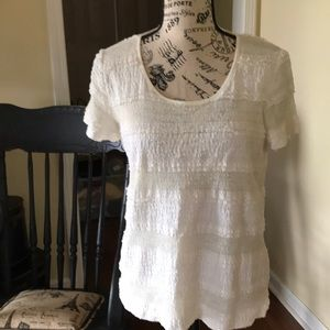 Chico's Stretchy Lacy Ruffled Top